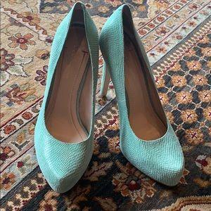 Mint faux snakeskin heels